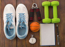 Workout and fitness dieting copy space diary. Healthy lifestyle concept. Stock Photo