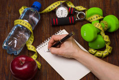 Workout and fitness dieting copy space diary. Healthy lifestyle concept. Stock Image