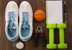 Workout and fitness dieting copy space diary. Healthy lifestyle concept. Stock Photos