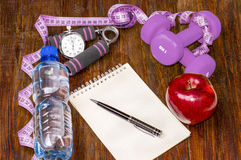 Workout and fitness dieting copy space diary. Healthy lifestyle Royalty Free Stock Image