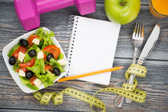 Workout and fitness dieting copy space diary. Royalty Free Stock Photography
