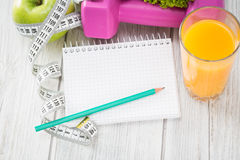 Workout and fitness dieting copy space diary. Royalty Free Stock Image