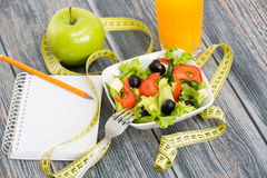 Workout and fitness dieting copy space diary. Stock Photos