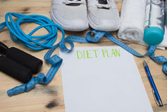 Workout and fitness dieting,Planning control diet concept. Stock Images