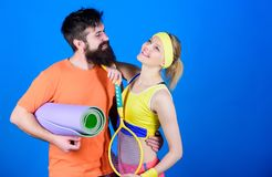 Workout and fitness. Girl and guy live healthy life. Fitness exercises. Sport is our life. Healthy lifestyle concept stock image