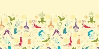 Workout fitness girls horizontal seamless pattern Stock Images