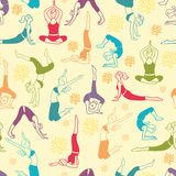 Workout fitness girls seamless pattern background Royalty Free Stock Photo