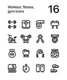 Workout, fitness, gym icons for web and mobile design pack 1. 16 line black and white vector icons vector illustration