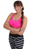 Workout fitness sports smiling woman portrait fit slim isolated Royalty Free Stock Photos