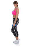 Workout fitness sports woman standing with dumbbells full body p Stock Photos