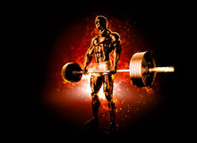 Workout with flaming barbell. 3D illustration Royalty Free Stock Image