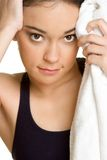 Workout Girl. Resting with towel Royalty Free Stock Photography