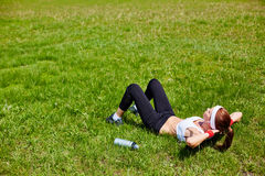 Workout on grass Stock Image