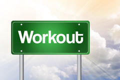 Workout Green Road Sign Royalty Free Stock Images
