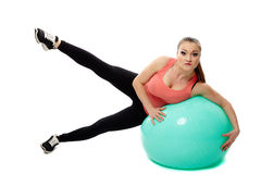 Workout with a gym ball Royalty Free Stock Images