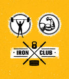 Workout Gym Sport and Fitness Motivation Vector Design Elements on Grunge Background Stock Photography
