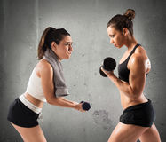 Workout in the gym with trainer Stock Photos
