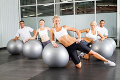 Workout with gymnastic ball Royalty Free Stock Photography