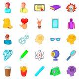 Workout icons set, cartoon style Stock Photography