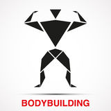 Workout logo with bodybuilder triangle man. Vector Royalty Free Stock Photo