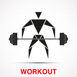 Workout logo with triangle man. Vector Royalty Free Stock Photography
