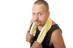 Workout man holding towel Stock Images