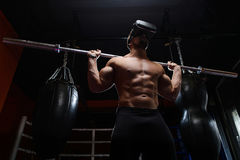 Workout. Man with VR headset Stock Images