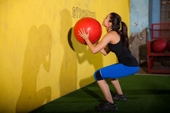 Workout with medicine ball royalty free stock photos