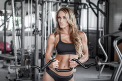 Workout with olympic curl bar. Sexy fitness model workout with olympic curl bar Royalty Free Stock Photos
