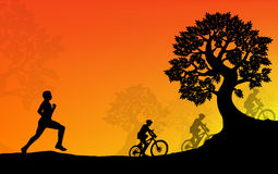 Workout in the Park Sunset. Illustration Stock Image
