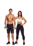 Workout people with dumbbells Royalty Free Stock Images