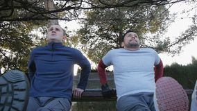 Workout with personal trainer outdoors. Low angle view of two fitness men doing triceps bench dips in a park as part of. A workout routine stock video footage