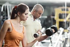 Workout With Personal Trainer Royalty Free Stock Photos