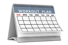 Workout Plane Calendar. 3d Rendering Stock Images