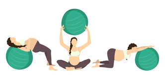 Workout for pregnant. Royalty Free Stock Image