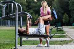 Workout with private instructor Royalty Free Stock Images