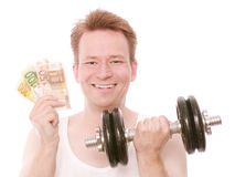 Workout savings. Young happy man holding a barbell and some euro banknotes - isolated on white and retouched Stock Photo