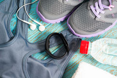 Workout set with heart rate monitor Royalty Free Stock Photo