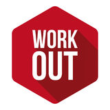 Workout sign button red Royalty Free Stock Photos