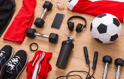 Workout, soccer and sport equipment background. Set of fitness male outfit. Active lifestyle, body care concept Royalty Free Stock Photography