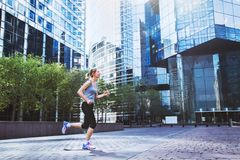 Workout and sport background, urban jogging, sportive woman royalty free stock image