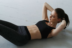 Workout. And sport. Woman in gym stock photos