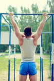 Workout sports man pull up Royalty Free Stock Photos