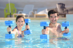 Workout in swimming pool royalty free stock image
