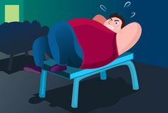 A Workout To Get Rid Of The Paunch. An image of a fat man lying on a bench in a gym and trying to do push ups Royalty Free Stock Images