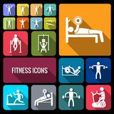 Workout training icons set flat Royalty Free Stock Images