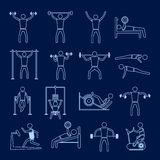Workout training icons set outline Stock Images