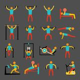 Workout training icons set Royalty Free Stock Images