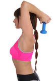 Workout training woman at sports back shoulder triceps in profil Stock Photography