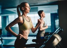 Workout on treadmill Royalty Free Stock Photography